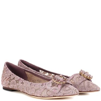 Embellished lace ballerinas
