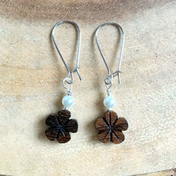 Wood Flower Earrings, Hibiscus Earrings, Hawaiian Earrings, Dark Brown,Flower Earrings, Wood Earrings, Bridesmaid Earrings, Free US Shipping