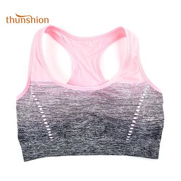 THUNSHION High Stretch Breathable Sports Bra Top Full Cup Support Padded Sport Bra Running Gym Yoga Seamless Sport Crop Gradient