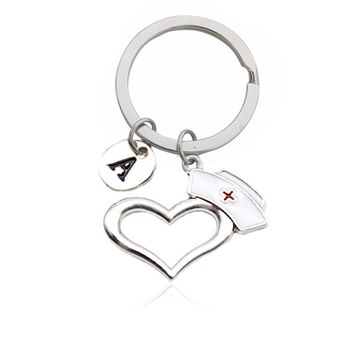Creative Letter Prayer Heart Nurse Cap Keychain Medical Staff Memorial Keychain Doctor Nurse Graduation Gift Fashion Jewelry