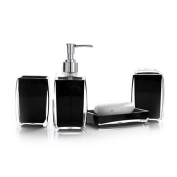4Pcs/Set Acrylic Bathroom Set Soap Dispenser Bottle Soap Dish Cup Toothbrush Holder Case 2017ing