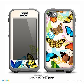 The Colorful Vector Butterflies Skin for the iPhone 5c nüüd LifeProof Case