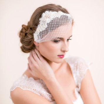 Bridal Hair Piece with Mini Veil - Pearl and Rhinestone Bridal Hair Piece - Wedding Hair Piece - Bridal Headpiece, Wedding Headpiece