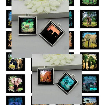 African Elephant Paintings Art - - Digital Collage Sheets - 1.5 inch Squares for Jewelry Makers, Party Favors, Wedding Projects, Crafts