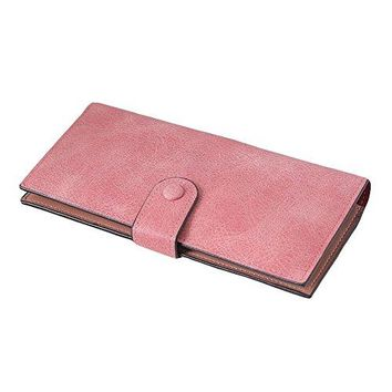 Simple Long Narrow Woman Wallet Bifold Real Genuine Natural Leather Snap Button Ladies Clutch Purse