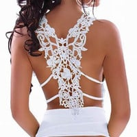 Embroidery back lace open back tan top fashion sexy hollow out back white, backless vest, black tank top A1017