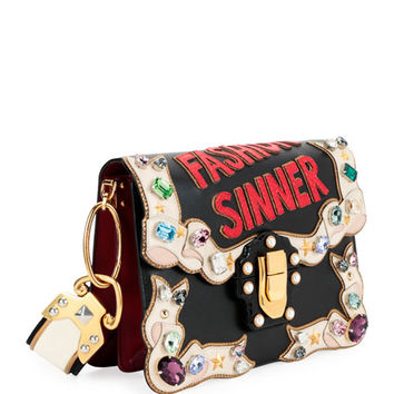 "Dolce & Gabbana Lucia ""Fashion Sinner"" Embellished Shoulder Bag"