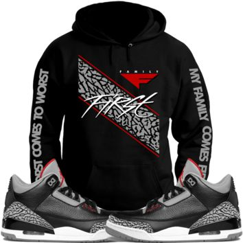 Jordan 3 Black Cement Sneaker Hoodie to Match - FAMILY FIRST