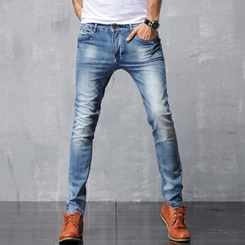 Men Denim Skinny Pants Slim Stretch Jeans [6528731267]
