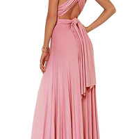 Halter Crossback Pleated Maxi Dress