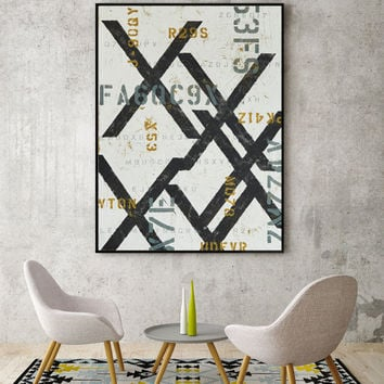 Modern Abstract Home Decor - Large Contemporary Abstract Wall Art - Blue and Yellow Typography Wall Decor - Industrial Loft Artwork by CMFA