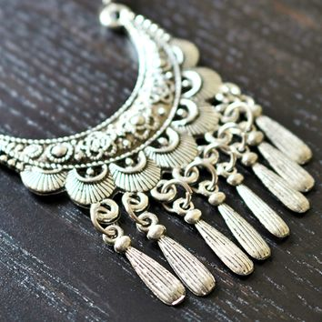 Tibetan Silver Necklace - Boho Jewelry, Handmade Jewelry, Unique Jewelry