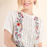 Crochet Floral Embroidered Top