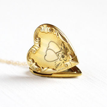 Vintage Heart Locket - 10k Yellow Gold Filled Flower Repousse Necklace - 1940s Pendant Romantic Love 40s GF Floral Original Photos Jewelry