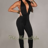 Black Deep V Neck Halter Jumpsuit
