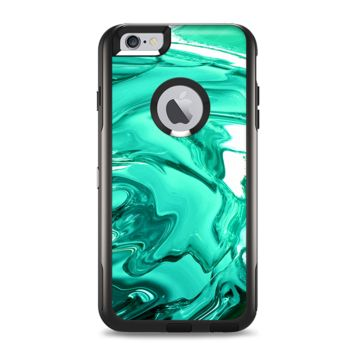 The Bright Trendy Green Color Swirled Apple iPhone 6 Otterbox Commuter Case Skin