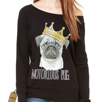 Notorious P.U.G. Biggie Pug Life Slouchy Off Shoulder Oversized Sweatshirt