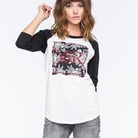 Young & Reckless New Square Floral Womens Raglan Tee Black/White  In Sizes