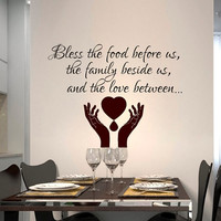 Wall Decals Quote Prayer Bless the food before Decal Vinyl Sticker Hand Heart Bedroom Kitchen Home Decor Dorm Hall Room Art Murals MN457