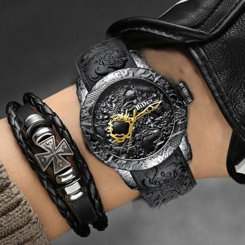 Black Men Watches Fashion 3D Engraved Dragon Relogio Masculino Luxury 2018 Top Brand Quartz Watch Waterproof Sport Male Clock