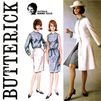 1960s Norma Tullo Designer Pattern Uncut Bust 32 Butterick 3850 Coat, Duster, Skirt, Blouse, Sheath Dress Mod Womens Vintage Sewing Patterns