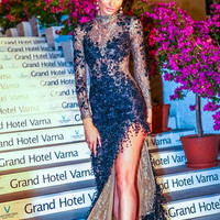 Lace Long Romantic Handmade  Wedding Dress-In Black