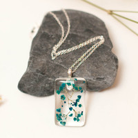 Eco Chic Blue Babies Breath Flower Pendant, Real Flowers Jewellery,  A Perfect Christmas Gift