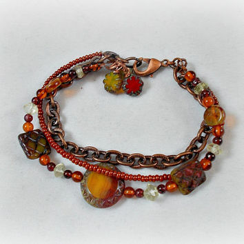 Gemstone Beaded Bracelet Triple Strand Unique Rustic Baltic Amber Raw Citrine Garnet Multi-Strand Vintaj Chain Antique Copper Czech Picasso
