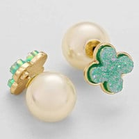 Turquoise Clover White Pearl Double Sided Earrings