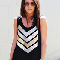 Sequin Chevron Tank {Black}