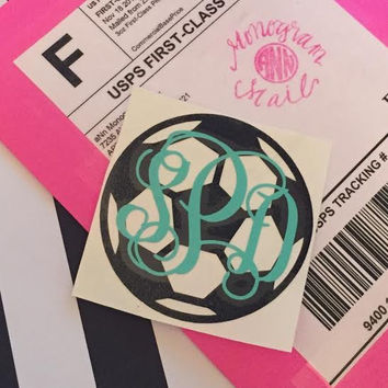 Soccer Ball Monogram - Soccer Vinyl Decal - Sports Monogram Decal