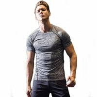 Gyms Compression T-Shirt Workout Crossfit T Shirt Fitness Tights Casual Shirts Quick Dry Clothing  Short Sleeves Tee Shirt