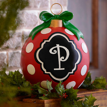 Red Polka Dot Monogram P Ornament Statue