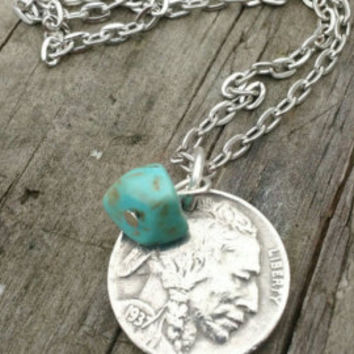 Buffalo coin necklace. Nickel jewelry. American Indian necklace. Turquoise jewelry. coin jewelry. Indian Head buffalo coin.
