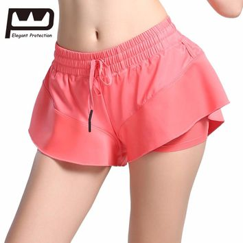 New Yoga Shorts Women Sport Shorts Fitness Crop Elastic High Waist Gym Ruffled Solid Sexy Cool Breathable Shorts