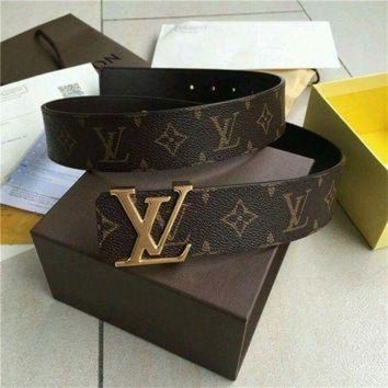 DCCK0 Louis Vuitton LV Belt golden Reversible 40mm Monogram Belt Size 110CM**