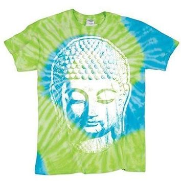 Mens Big Buddha Head Tropical Tie Dye Tee