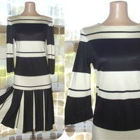 Vintage 60s Black & White Striped MOD Drop Waist Jersey Pleated Tennis Dress Eddie Nober S/M