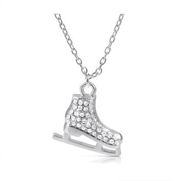 Light Silver Plated 3D Ice Skates Figure Skater Crystal Reversible Pendant Charm Necklace Winter Jewelry