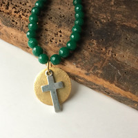 Jade Beaded Necklace, Faceted Jade, Cross Necklace, Christian Necklace, Gold Plated, Silver, Pendant Necklace, Simple Necklace, Etsy Jewelry