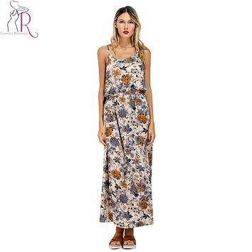 Multicolor Floral Print Backless Spaghetti Strap Bohemian Maxi Dress 2017 Summer Sexy Sleeveless O Neck Casual Beach Wear