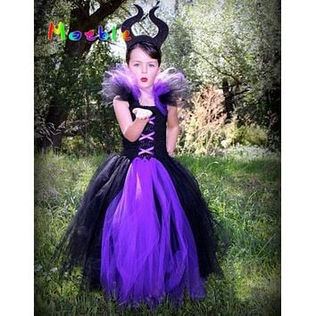Maleficent Evil Queen Girl Tutu Dress Children Halloween Cosplay Costume Dresses Kids Girl Party Photography Clothes Fancy Dress