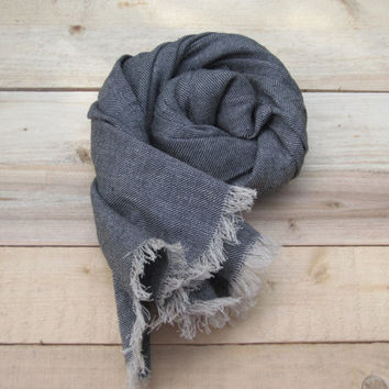 Black linen scarf with wool, scarf with knot fringe, linen scarves, scarf linen, linen shawl, pure linen scarf, women scarf, men scarf