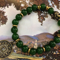 "Rare Taiwan Green Jade, Genuine Gemstones with ""Lucky"" Coin gold colored charm and bracelets."