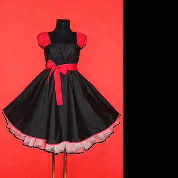 40s 50s Rockabilly Swing Black and Red Pin Up Dress US Plus Size 22 24 26