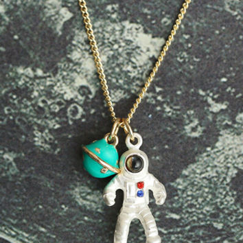 Multicolor Astronaut Pendant Necklace