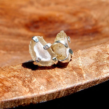 Baby tabasco geode post earrings - Cream and White geodes set in sterling silver - one of a kind