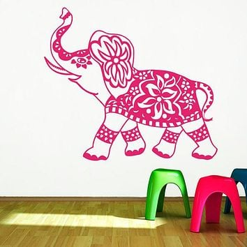 Wall Decal Elephant Mandala Meditation Buddha Eastern Bohemian Sticker  Bedroom Yoga Home Decor Vinyl Sticker H-8