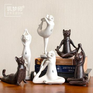 Retro Yoga Cat Statue Sculptures - Figurines / Figures