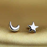 Mini Moon and Star Sterling Silver Stud Earrings